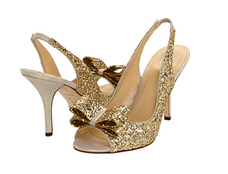 Kate Spade Sparkle Heels in Gold.