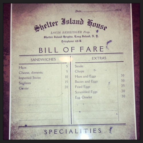 Menu from 1912...100 years ago!
