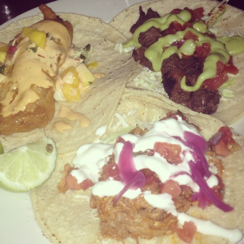 The Baja Fish, Pollo Asado, and Carne Asada tacos.